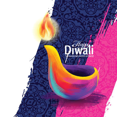 Vector illustration on the theme of the traditional celebration of happy diwali. Deepavali light and fire festival Vettoriali