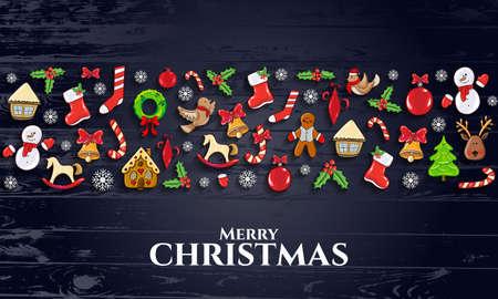 ector イラスト。メリー クリスマスと幸せな新年 2018 ギフト カード、パンフレット、チラシ、リーフレット、ポスターのデザインの要素を設計します
