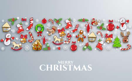 エクターのイラスト。メリークリスマスとハッピーニューイヤー2018ギフトカード、パンフレット、チラシ、リーフレット、ポスターのデザインのた  イラスト・ベクター素材
