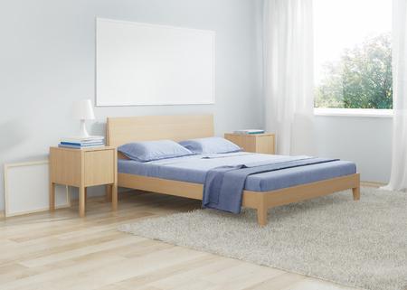 Slaapkamer interieur in koude tinten. 3D-weergave Stockfoto
