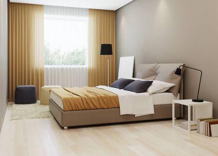 Design bedroom in warm ton. 3D rendering