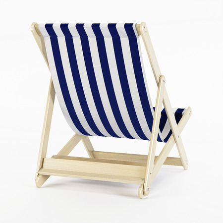 흰색 배경 위에 deckchair입니다. 3D 렌더링입니다. 스톡 콘텐츠