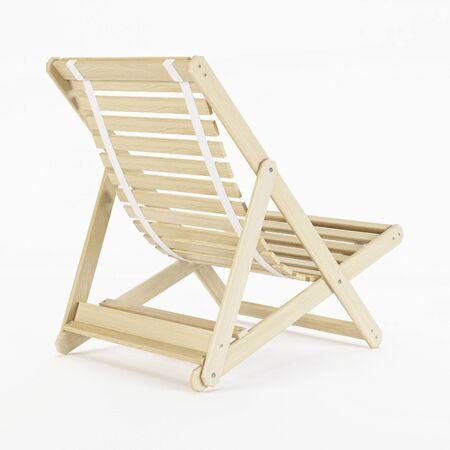 beatitude: Deckchair over white background. 3D rendering.