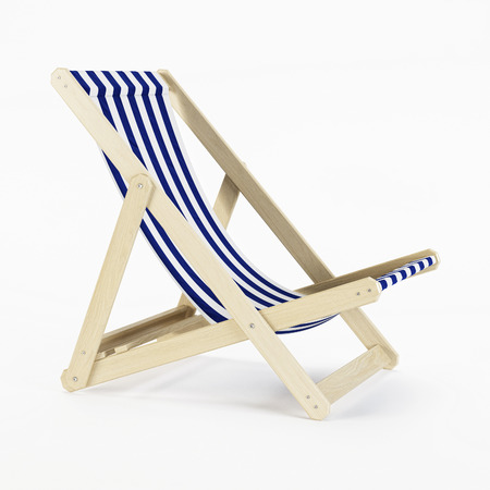 Deckchair over white background. 3D rendering.