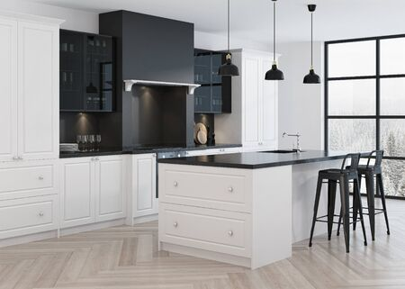 countertop: Kitchen interior design in classic style. 3D rendering. Stock Photo