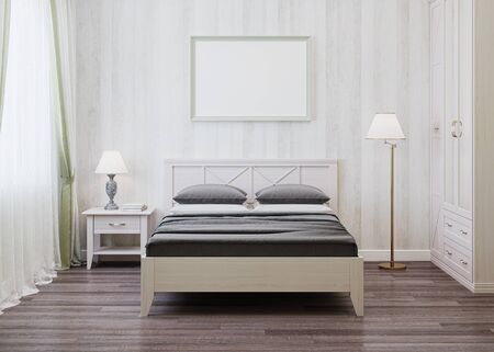 provence: Design a bedroom in the style of Provence. 3D rendering. Stock Photo
