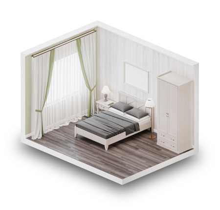 Design a bedroom in the style of Provence. Isometric view. 3D rendering.