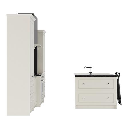 Muebles de cocina en un estilo moderno aislado en un fondo blanco.  Representación 3D