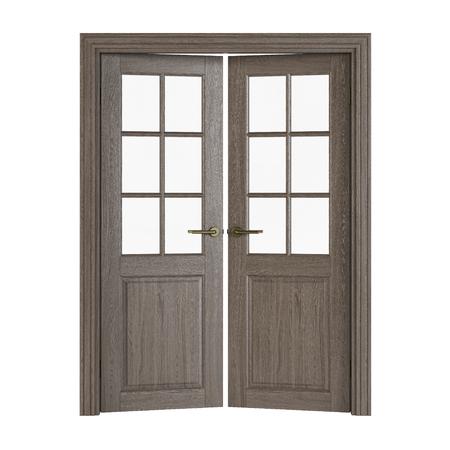 Dubbele deuren met glas. Binnendeuren op witte achtergrond worden geïsoleerd die. 3D-weergave Stockfoto