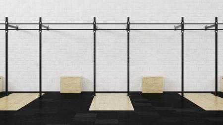 Gym. Crossfit. Equipment for cross-flow. 3D rendering.