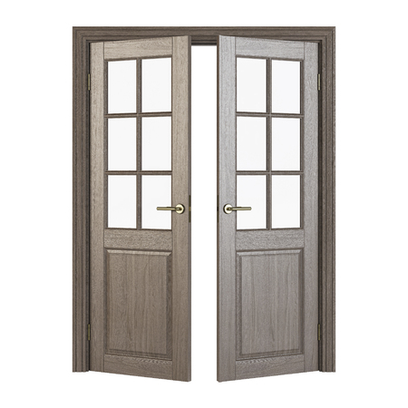 Double-leaf doors with glass. Interior doors isolated on white background. 3D rendering.