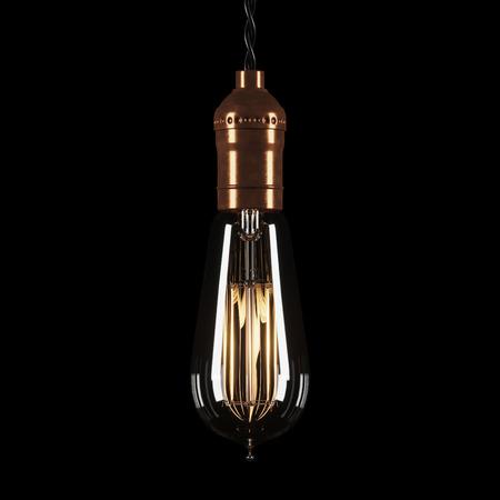 Vintage luminous bulb on black background. 3D rendering. Stock Photo