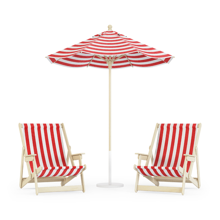 Chaise lounge with umbrella on white background. 3D rendering.