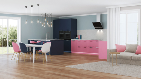Modern house interior. Pink kitchen. 3D rendering.