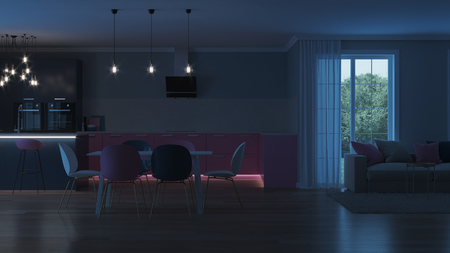 Modern house interior. Pink kitchen. Night. Evening lighting. Artificial light sources. 3D rendering. Фото со стока