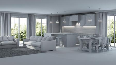 Modern house interior. Repairs. Gray interior.  3D rendering.