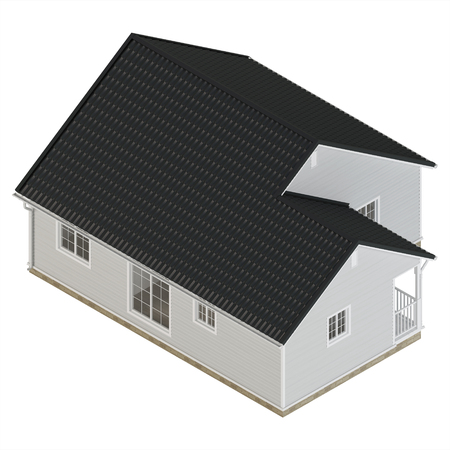 Cozy little house isolated on white background. Isometric projection. View from above. 3D rendering.