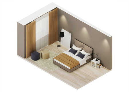 Bedroom design in warm tones. Orthogonal projection. View from above. 3D rendering. Banque d'images - 110241346