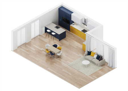 Modern house interior with yellow kitchen. Orthogonal projection. View from above. 3D rendering.