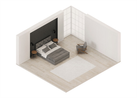 Bedroom interior. Modern classic. Orthogonal projection. View from above. 3D rendering. Banque d'images - 110253498