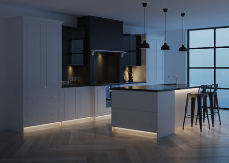 Modern kitchen interior. Modern classic. Evening lighting.  3D rendering.
