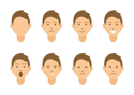 A set of emotions. 8 types of male faces. Different moods vector images. Isolated on white background. Illustration