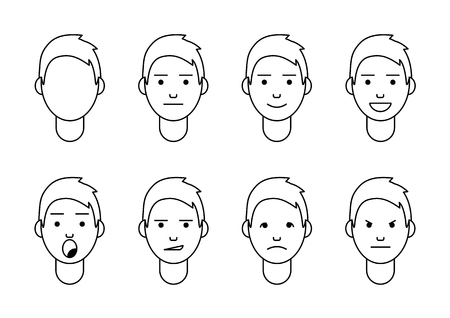 A set of emotions. 8 types of male faces. Different moods vector images. Isolated on white background. Vettoriali