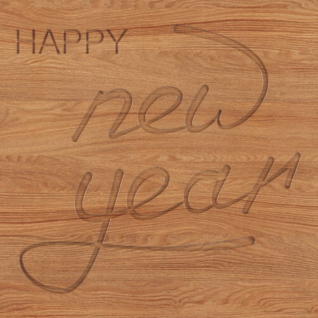 Happy New Year or Christmas background. Text cut out of wood. 3D rendering. 写真素材