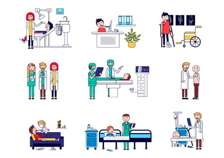 Conjunto horizontal de servicios médicos con médicos y pacientes. Ilustración vectorial de la recepción de un dentista, consulta en línea, traumatología, un conjunto de médicos, operando. Ilustración vectorial.