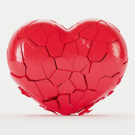 Broken red heart on a white background. 3D rendering.