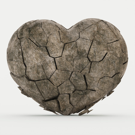 Broken stone heart on a white background. 3D rendering.