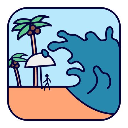 Natural cataclysm. Tsunami wave.