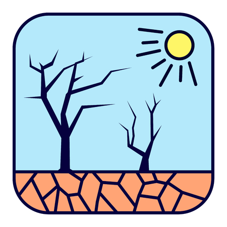 Natural cataclysm. Drought. Scorching sun, dried trees and cracked earth.