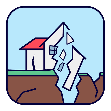 Natural cataclysm. Earthquake. Ruined house with cracks and damage. Иллюстрация