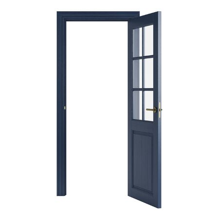 Blue interior door isolated on white background. 3D rendering.