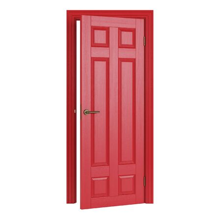 Red interior door isolated on white background. 3D rendering.