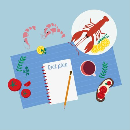 Healthy eating, dieting, slimming and weigh loss concept. Close-up on a notepad with a diet plan.