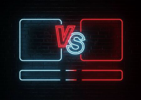 Versus Screen. Fight backgrounds competition. 3D rendering.