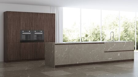 Modern kitchen interior. Dark wood kitchen with island made of natural stone. 3D rendering.