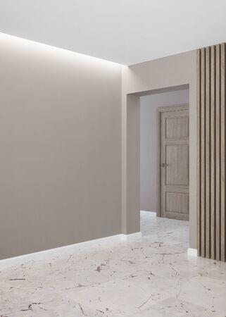 Hallway Modern interior of an empty room using wooden blocks. 3D rendering.