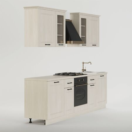 Kitchen. Furniture and kitchen equipment on a white background. Clipping path included. 3D rendering.
