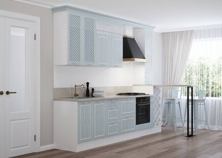 The interior of the kitchen in a private house. Blue kitchen in a classic style. 3d rendering.