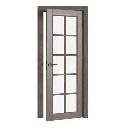 Wooden door isolated on white background. 3D rendering.