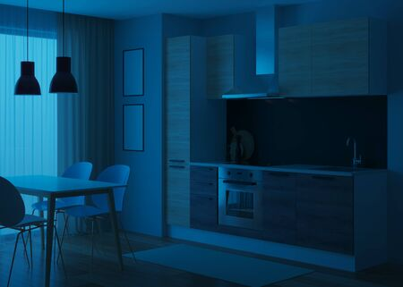 Kitchen interior in a modern style. Night. Evening lighting. 3D rendering.