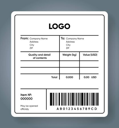 Shipping bar code label. Cargo sticker. Product and price with barcode template. Delivery sticker mockup. Sender and recipient information text area.