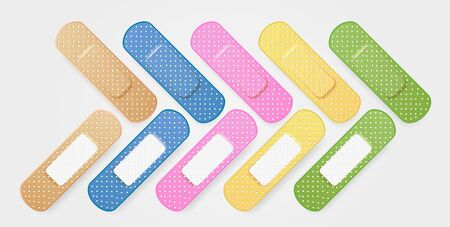 Set of colored medical plasters. Realistic oblong plaster in blue, yellow, pink, green color. Adhesive patch. First aid bright sticker kit. Sticky protective band. Vector illustration Ilustracja