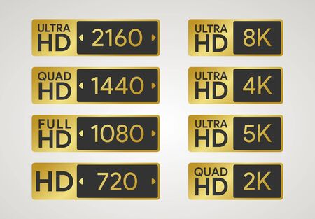 All HD labels. Full, ultra, quad high definition badge. 720, 1080, 1440, 2160 pixel resolution of screen. Plasma dimension icon. 8K, 5K, 4K, 2K display. PC and TV ratio in px. Vector illustration