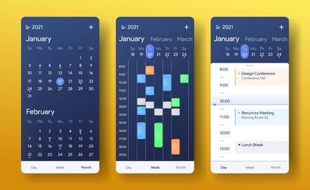 Mobile calendar app. Month, week and day interface application. Daily tasks screen. Weekly checklist application. Planner for 2021 template. Ui