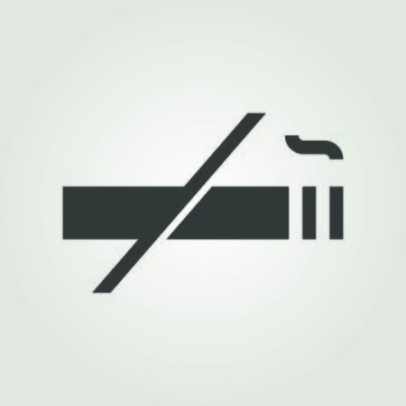 No smoking sign. No cigarette icon. No smokers allowed. Clean air zone or area. Smoke outside logo design. Vector illustration.