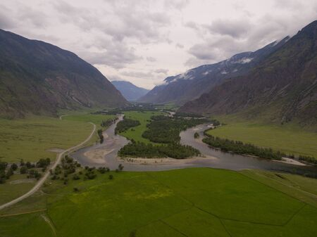 mountain landscape. mountain river between sheer cliffs. Stok Fotoğraf